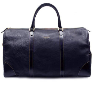 blue leather weekend bag