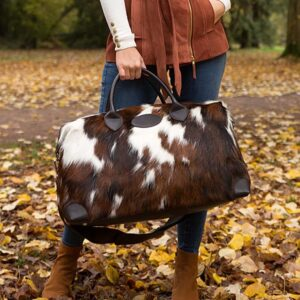 cowhide weekend bag